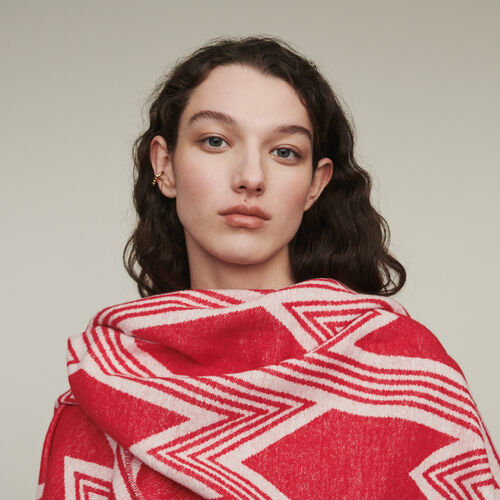 Poncho with M art deco print : New in : Summer Collection color Red