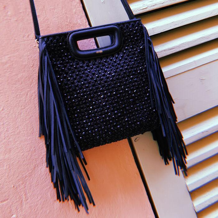 Raffia bag with fringes : M bag color Black 210