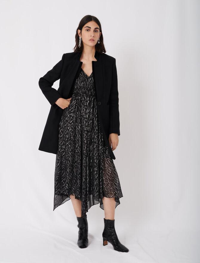 Wool and velvet coat -  - MAJE