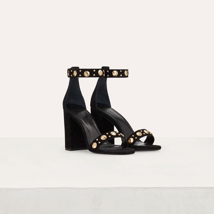 Suede heeled sandals : Slipper color Black 210