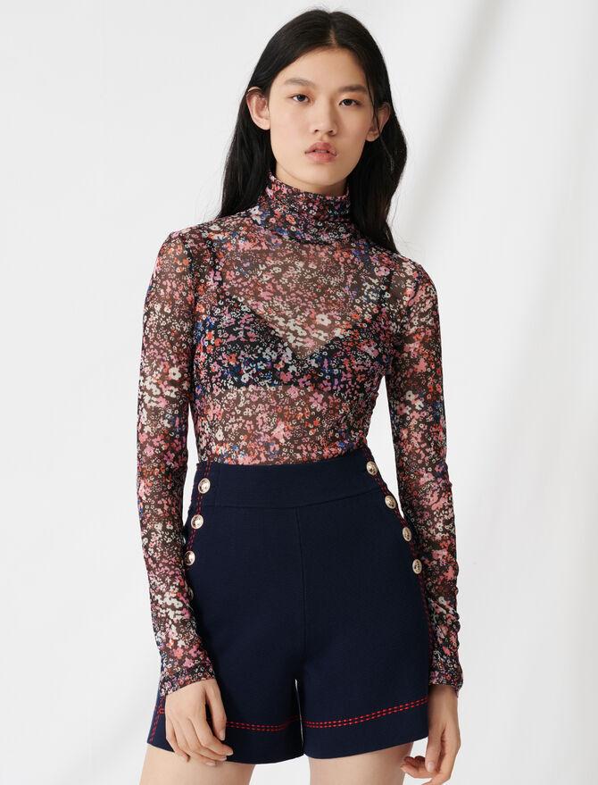 Mesh top with floral motif - T-Shirts - MAJE
