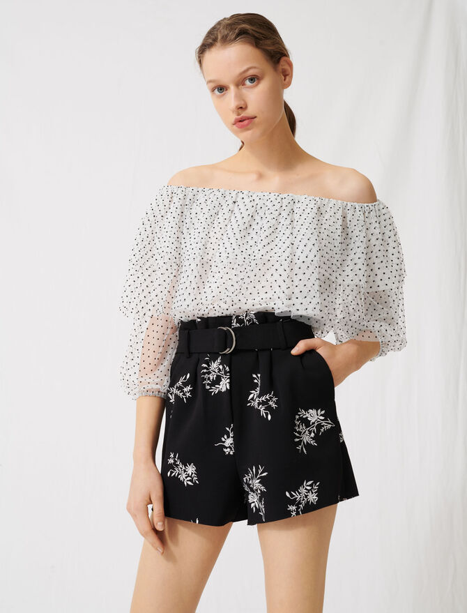 Embroidered belted crêpe shorts - Skirts & Shorts - MAJE