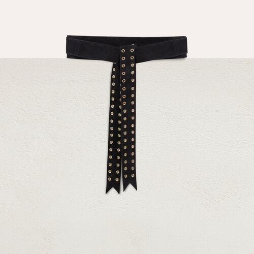 Suede belt with eyelets : Belts color Black 210