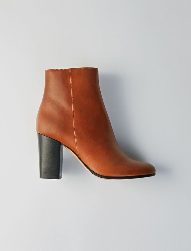 Heeled smooth leather booties - Booties & Boots - MAJE