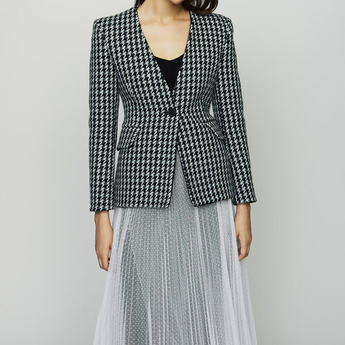 Wool houndstooth jacket : Office girl color Jacquard