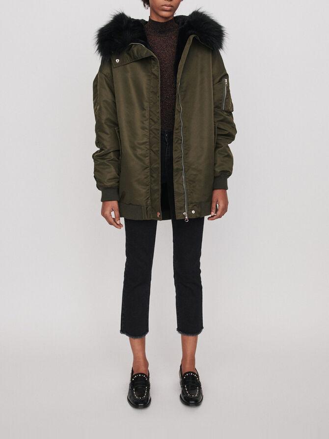 Bomber-style parka with hood - Coats & Jackets - MAJE