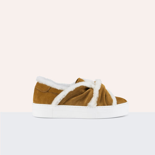 Suede trainers with shearling bow : Accessoires color Camel