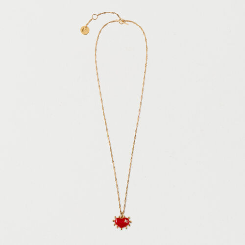 Necklace with red heart : Summer Collection color GOLD