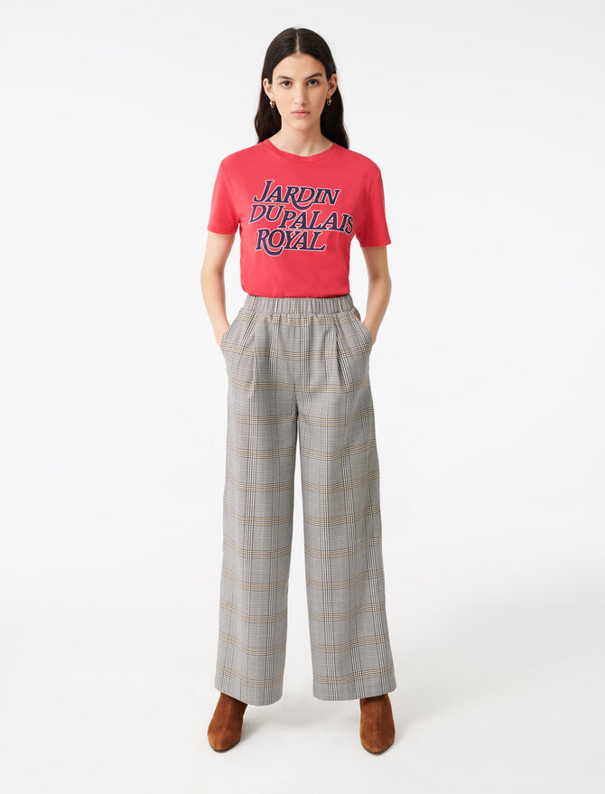 Pantalon élastiqué à carreaux -  - MAJE