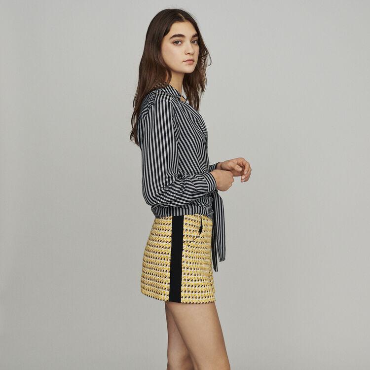 Wrap V-neck top with stripes : Tops color Stripe