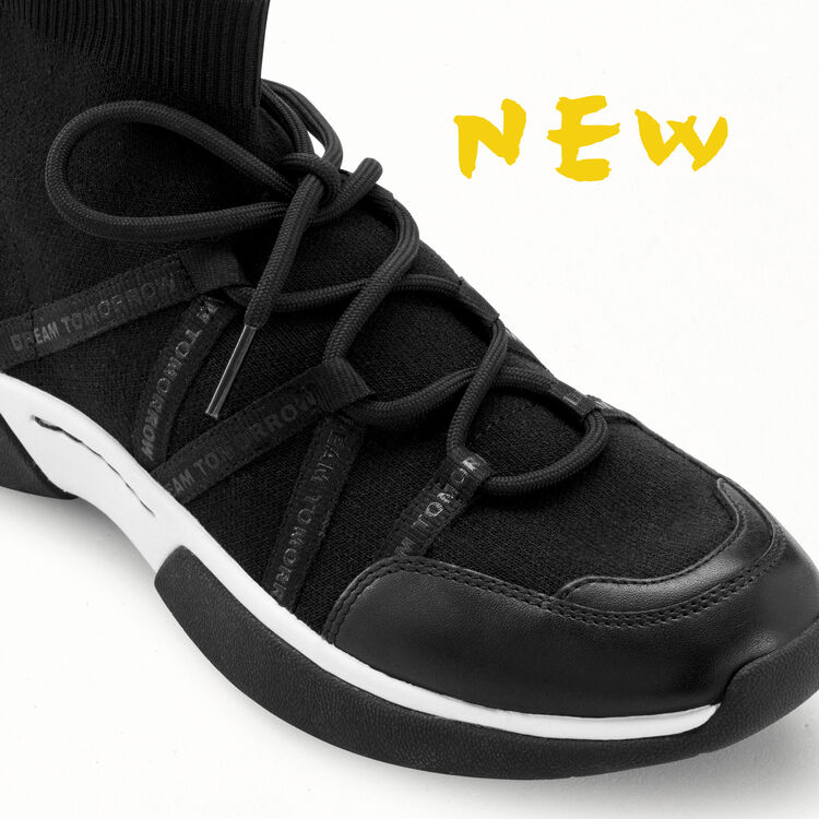 High-top sneakers in stretch fabric : Free rein color Black 210