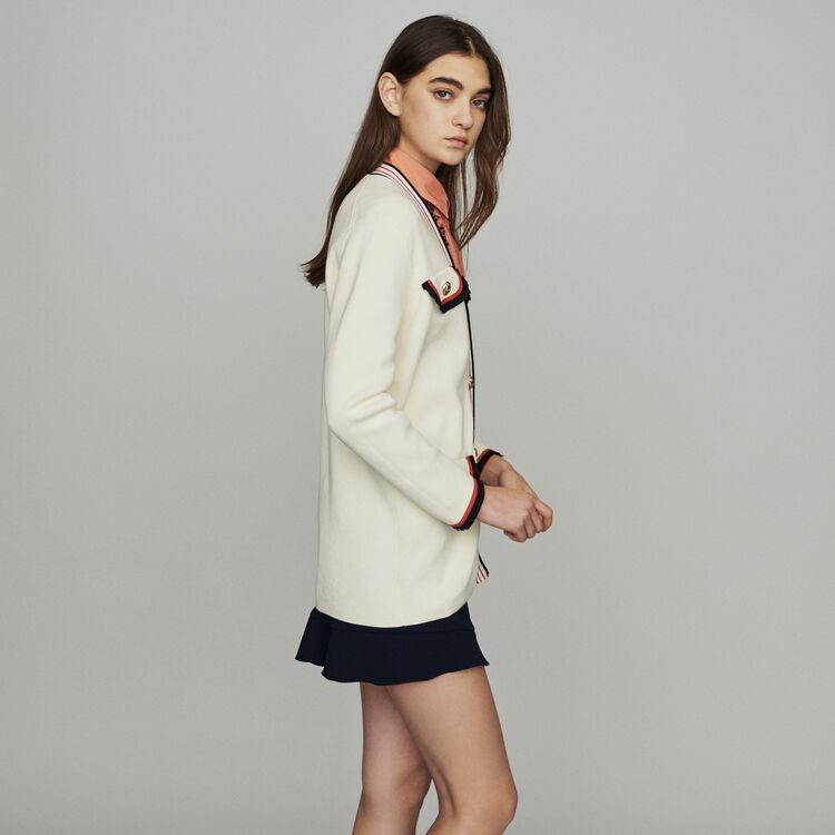 Long block-knit jacket : Pullovers & Cardigans color Ecru