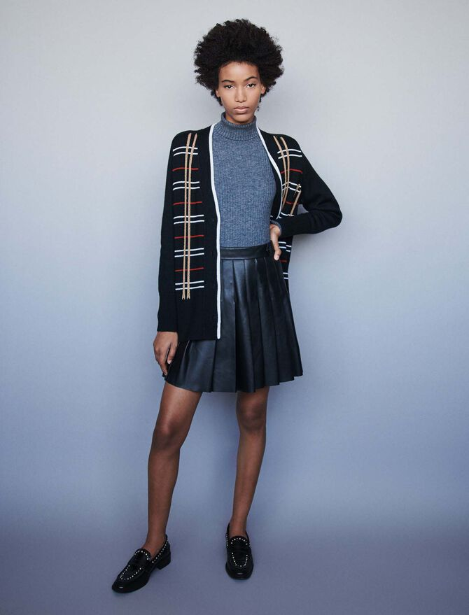 Plaid jacquard cardigan -  - MAJE