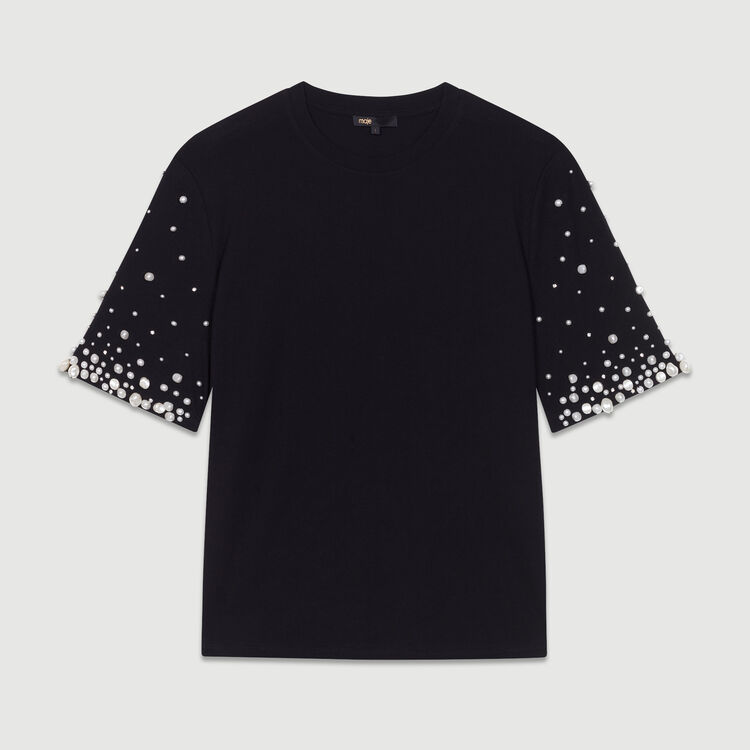 Cotton T-shirt with pearls : T-Shirts color Black 210