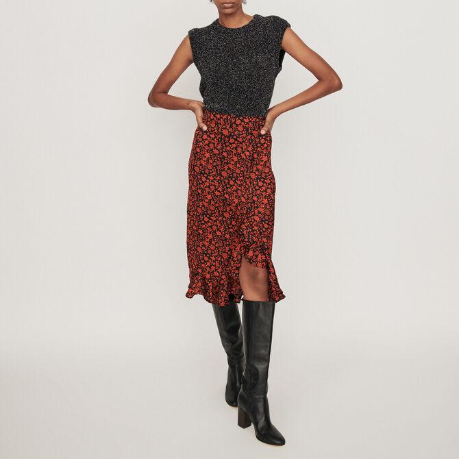 Printed-satin skirt - See all - MAJE