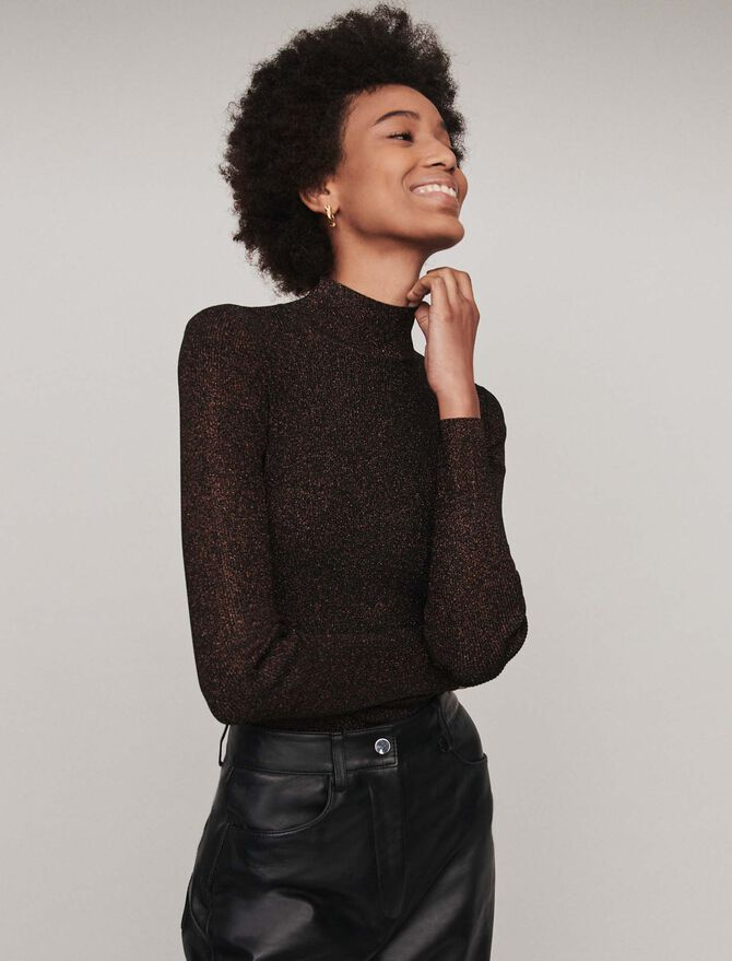 Pull fin en lurex col montant - Pap_Maille - MAJE