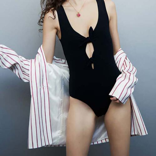 Bodysuit with bows : Swimsuit color WHITE