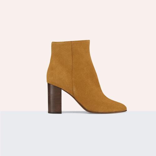 Suede leather ankle boots : Accessoires color Camel