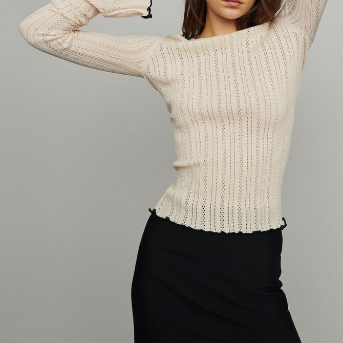 Pull en maille pointelle - null - MAJE