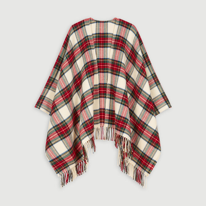 Poncho en laine mélangée à carreaux -  - MAJE