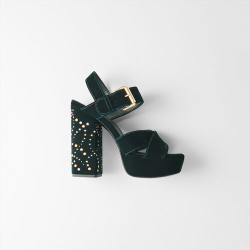 Studded velvet platform sandals : Slipper color GREEN