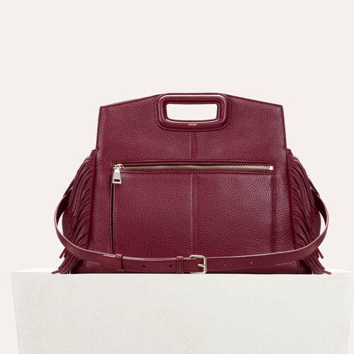 Leather shoulder bag  : Burgundy color Burgundy