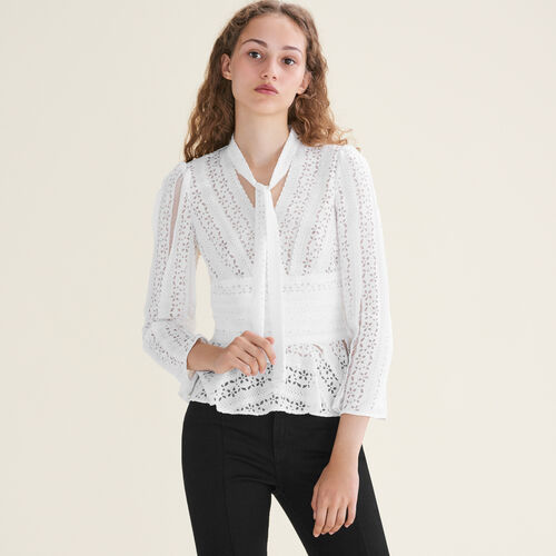 Embroidered top with ties : Best Sellers color White