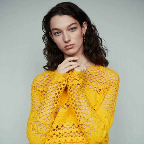 Pull oversize en maille crochet : Pap_Pulls-Cardigans couleur Jaune