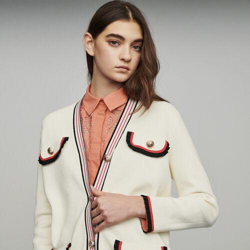 Long block-knit jacket : Knitwear color ECRU