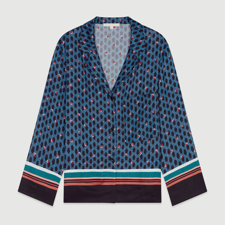 Pajama style shirt with monogram print : Shirts color PRINTED
