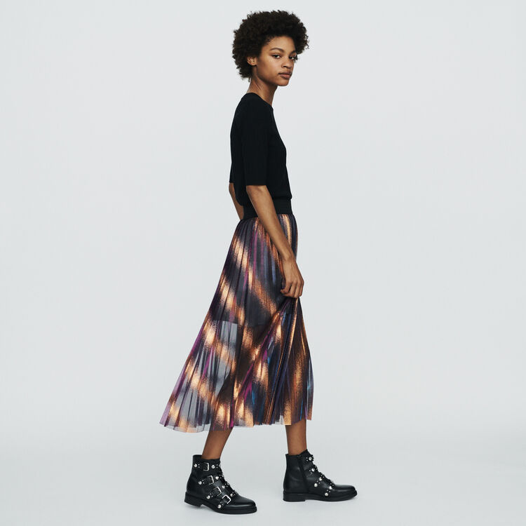 Pleated and iridescent long skirt : Skirts & Shorts color Multico