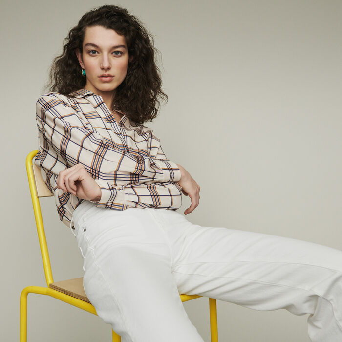 Plaid loose shirt : Tops & Shirts color CARREAUX