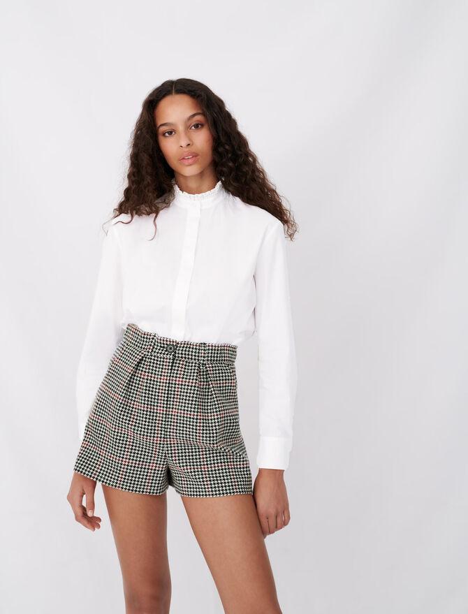 Poplin shirt with rhinestone collar - New collection - MAJE