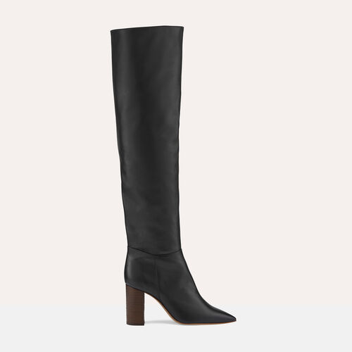 Leather thigh boots with heel : Accessoires color Black 210