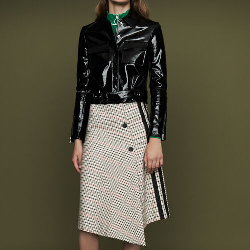 Long asymmetric plaid skirt : Skirts & Shorts color CARREAUX