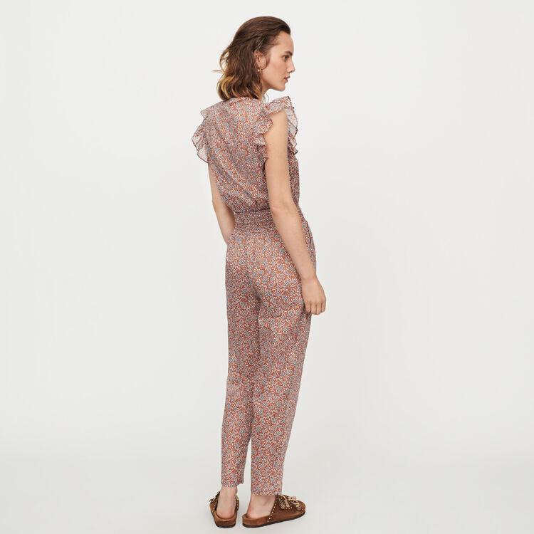 Floral-print cotton voile jumpsuit : Trousers & Jeans color Terracota