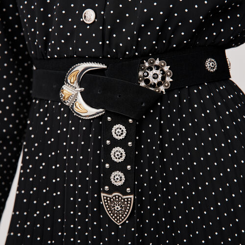 Studded-suede belt : Belts color Black