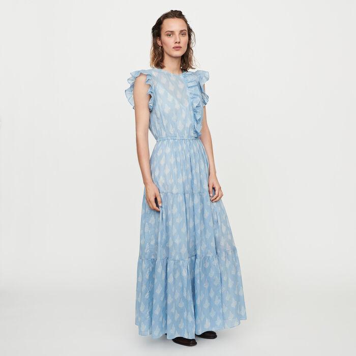 Long printed ruffled dress : Dresses color Blue