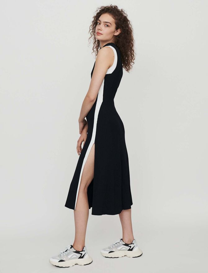 Split and contrasting ribbed dress - Dresses - MAJE