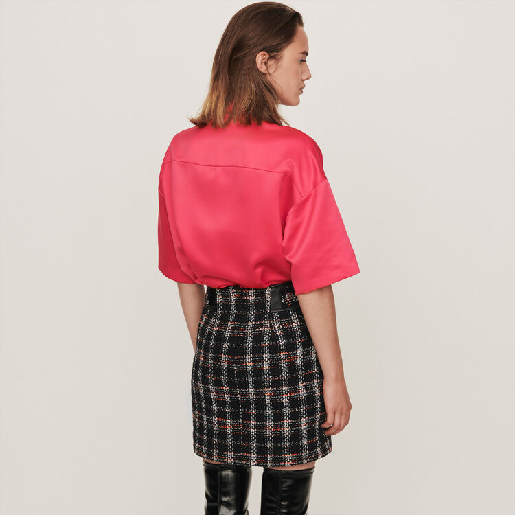 Satin shirt with jeweled pocket : Tops & Shirts color Pink
