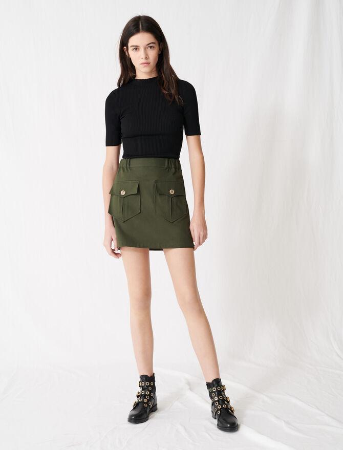 Jupe kaki en coton avec poches - Pap_Jupes-Shorts - MAJE