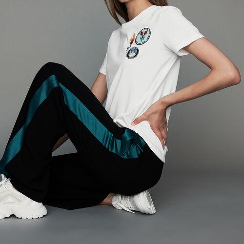 Wide bicolor pants : Trousers color Black 210