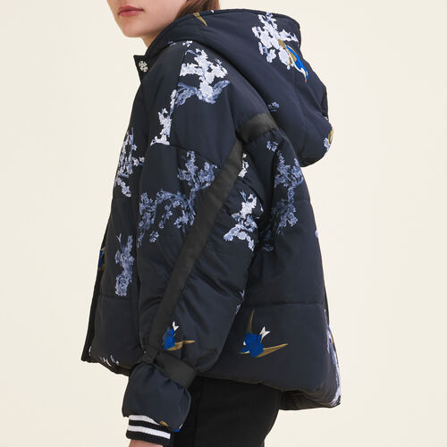 Cropped printed down jacket : Coats color PRINTED