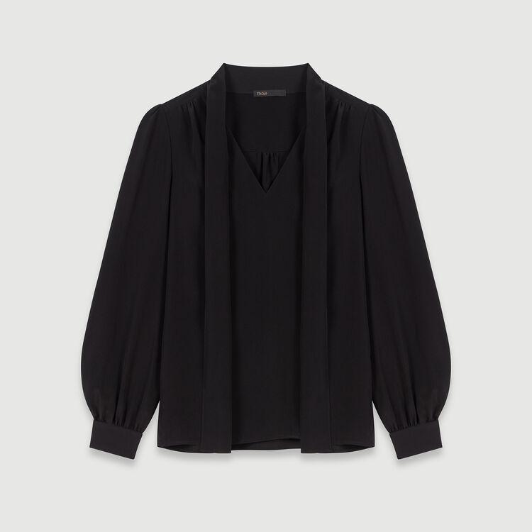 Pussycat bow silk top : Tops & Shirts color Black