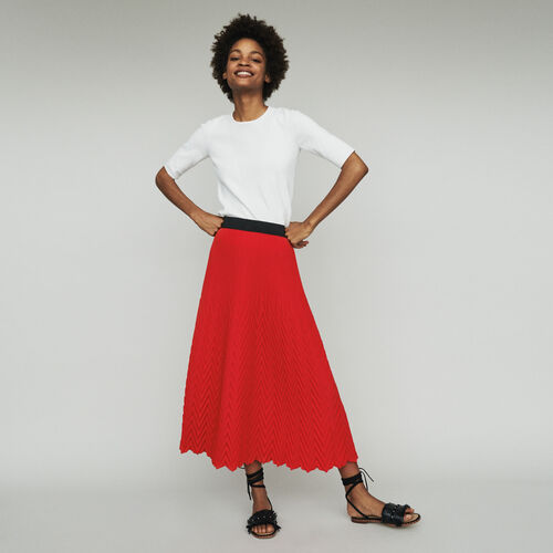 Long skirt with chevron pleat : New in : Summer Collection color Red