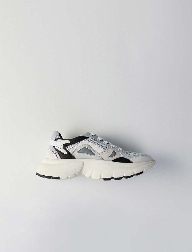 Sneakers W20 en cuir et tissu réfléctif - Chaussures_Sneakers - MAJE