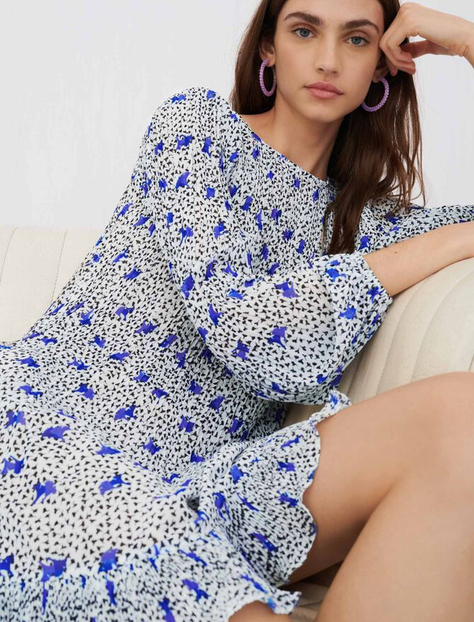 Pleated dress in printed muslin - Dresses - MAJE