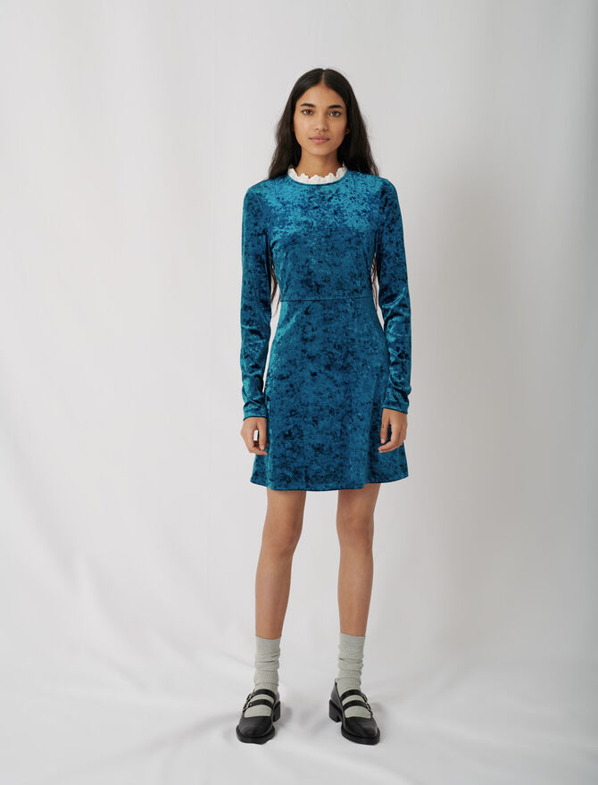 Crushed velvet dress with fancy collar - Ready to wear - MAJE