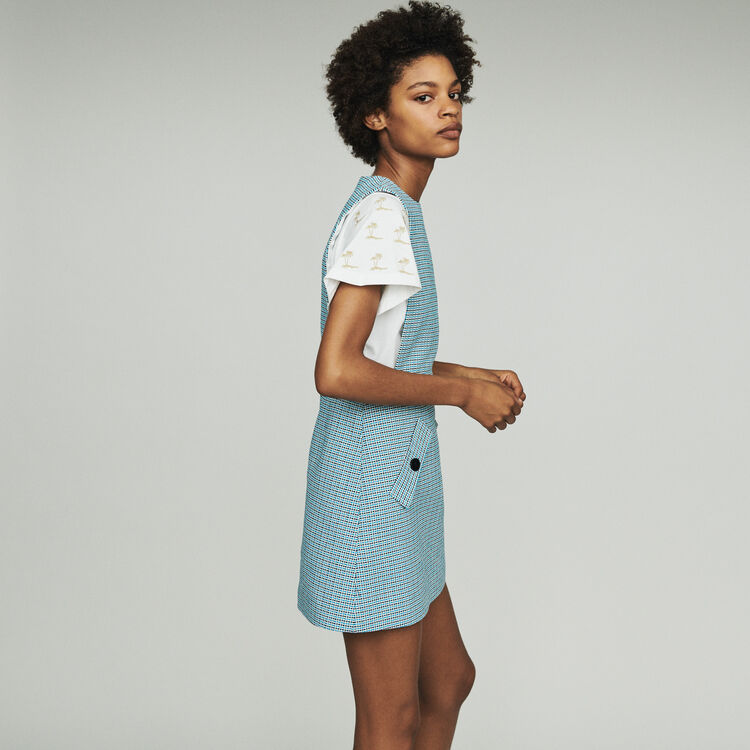 Tweed-style chasuble dress : Dresses color Blue