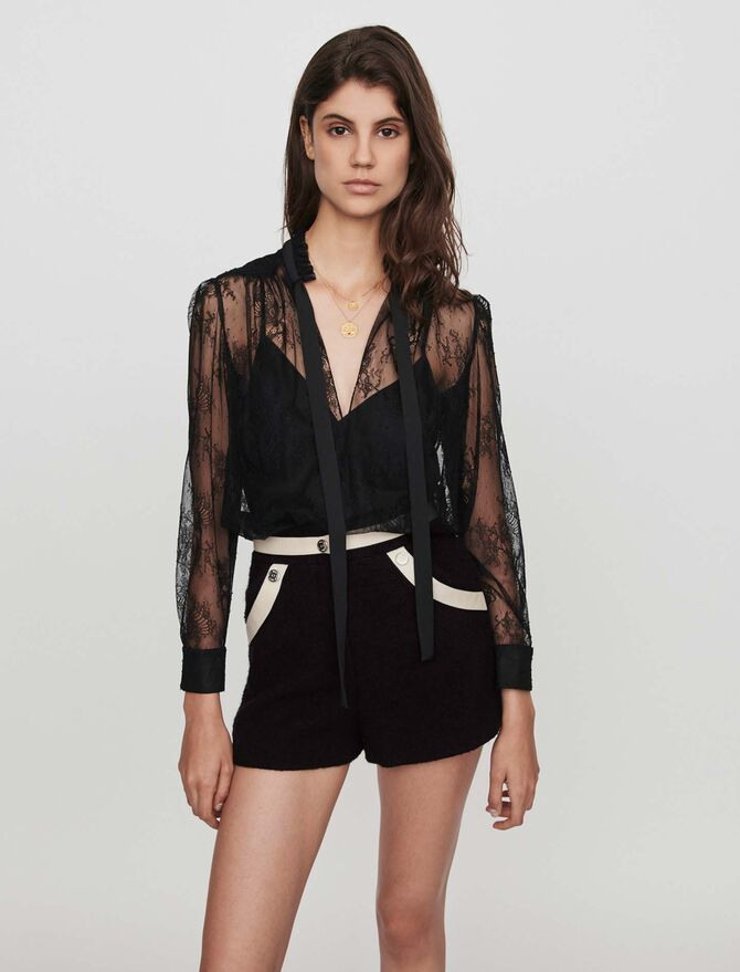 Lace pussy-bow top - Tops & Shirts - MAJE